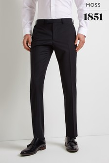 Moss 1851 Performance Tailored Fit Black Trouser
