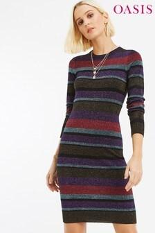 Oasis Multi Simone Stripe Metallic Dress