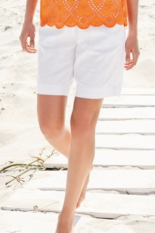 2b16ed020b0a6 Linen Blend Knee Shorts. I m available in tall sizes