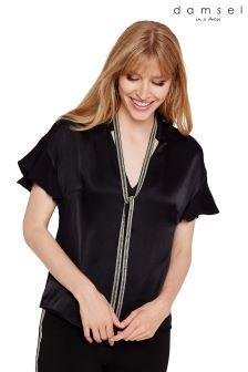 Damsel In A Dress Black Marianna Beaded Collar Blouse
