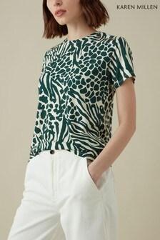 Karen Millen Green Mixed Animal Print Jersey Collection T-Shirt