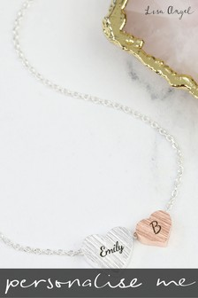 Personalised Double Heart Necklace by Lisa Angel
