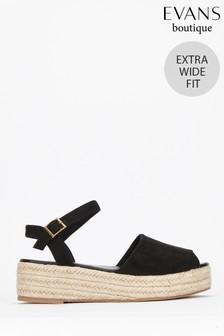 Evans Black Extra Wide Fit Flatform Espadrille Sandals