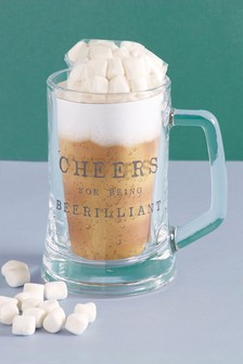 Father's Day Beer Glass With Marshmallows