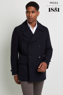 Moss 1851 Tailored Fit Navy Herringbone Pea Coat
