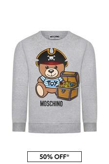 Moschino Kids Boys Grey Cotton Sweater