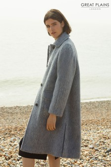 Great Plains Grey Textured Weave Pocket Coat