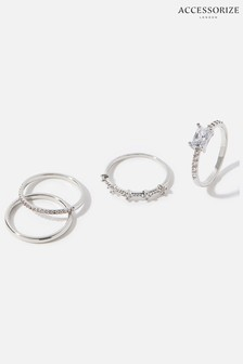 Accessorize Silver Platinum-Plated Sparkle Stacking Rings