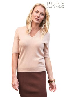 Pure Collection Natural Cashmere V-Neck T-Shirt