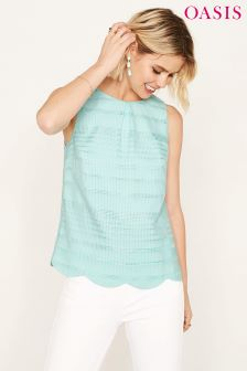 Oasis Green Grid Stripe Shell Top