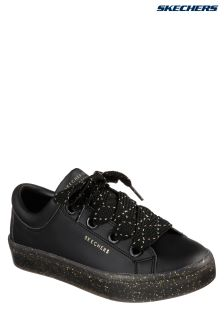 Skechers® Black Midsole With Glitter Lace-Up Sneaker
