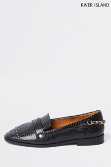 River Island Black Chain Fringing Fit Loafers