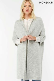 Manteau style cardigan Monsoon Camilla gris coupe cocon