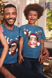 Kids Matching Family Flippy Sequin Rudolph T-Shirt (3-16yrs)