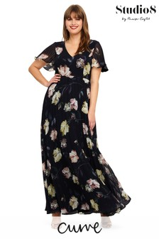 Studio 8 Blue Megan Floral Pleated Maxi Dress