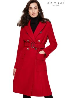 Damsel In A Dress Red Roxi Large Pocket Belted Coat