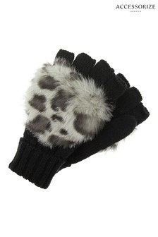 Accessorize Grey Snow Leopard Faux Fur Capped Glove