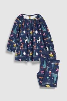 Christmas Printed Legging Pyjamas With Smock Top (9mths-8yrs)