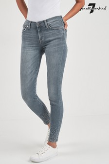 7 For All Mankind Grey Crystal Skinny Crop Jean