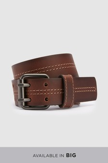 Signature Italian Leather Stitch Detail Belt