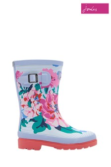 Joules White Floral Stripe Printed Welly
