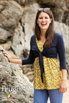Frugi Organic Navy Floral Top And Tie Cardi Maternity Set