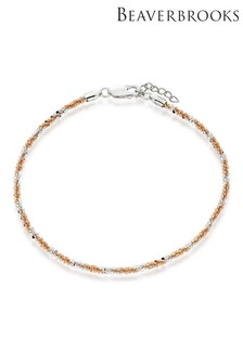 Beaverbrooks Silver and Rose Gold Plated Twist Anklet
