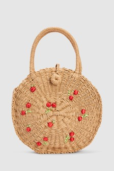 Straw Effect Circle Cherry Bag