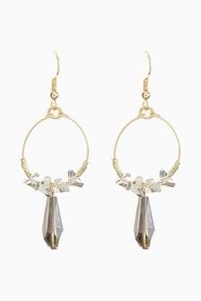 Jewel Beaded Hoop Drop Earrings