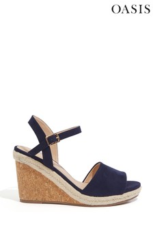 Oasis Blue Gracie Cork Wedge