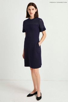 French Connection Black Roesia Texture Jersey Dress