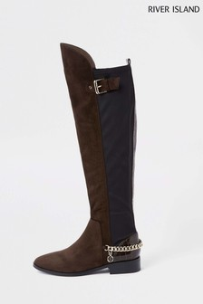 River Island Chocolate Flat Over The Knee Chain Boot