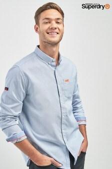 Рубашка в мелкую темно-синюю полоску с длинными рукавами Superdry