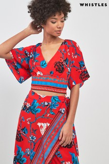 Whistles Red Scarf Print Top