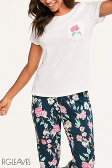Figleaves White Hummingbird Embroidered Pyjama Top