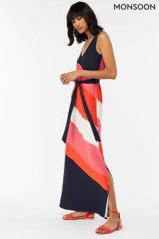 Monsoon Blue Cece Colourblock Maxi Dress