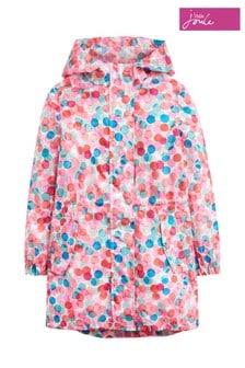 Joules Go-Lightly Lang geschnittene Regenjacke für Mädchen, pink