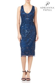 Adrianna Papell Blue Short Beaded Dress