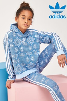 Sweat à capuche court à imprimé adidas Originals bleu