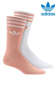 adidas Originals Adults Pink/White Crew Socks 2 Pack