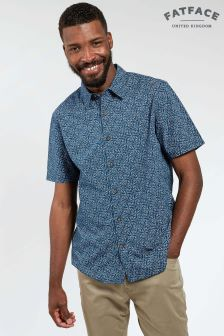 FatFace Navy Shark Print Shirt