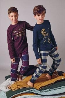 2 Pack Dinosaur/Skate Check Woven Pyjamas (3-16yrs)