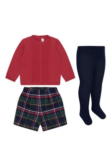 Baby Girls Tartan Cotton Shorts Set