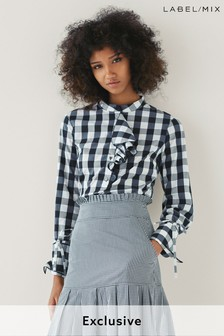 Mix/Teija Gingham Frill Shirt
