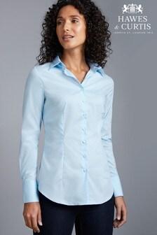 Синяя приталенная рубашка из стретчевой ткани с однотонными одинарными манжетами Hawes And Curtis