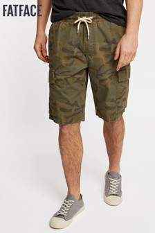 FatFace Green Camo Pull On Cargo Short