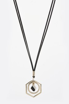 Hexagonal Stone Long Pendant Necklace