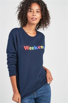 Slogan Crew Neck Sweater