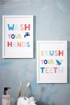 Set of 2 Kids Bathroom Wall Art