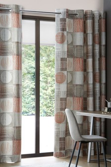 Textured Circles Eyelet Curtains